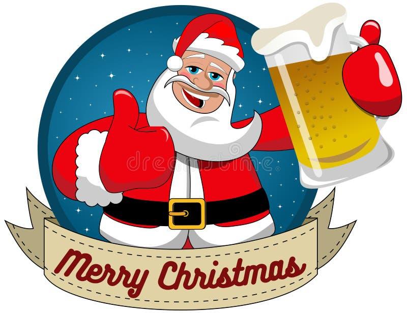 Большой палец руки кружки пива Санта Клауса вверх по с Рождеством Христовым круглой рамке бесплатная иллюстрация
