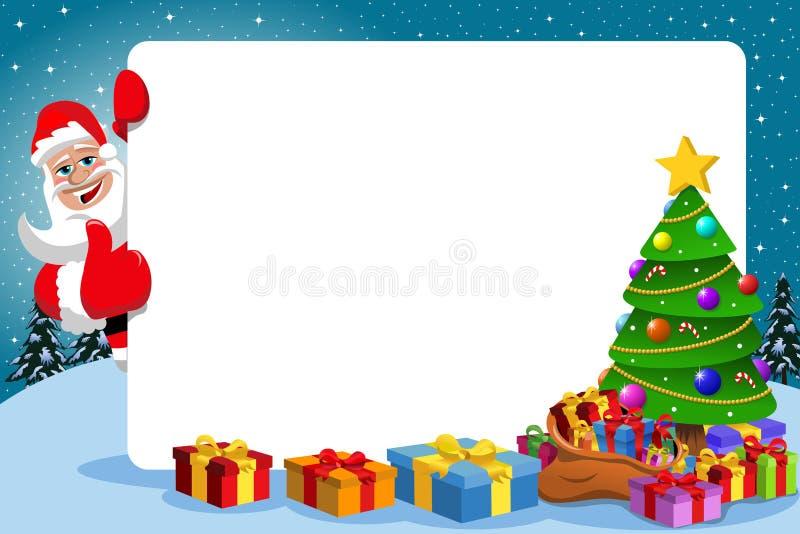 Большой палец руки Санта Клауса вверх по дереву Xmas рамки иллюстрация штока