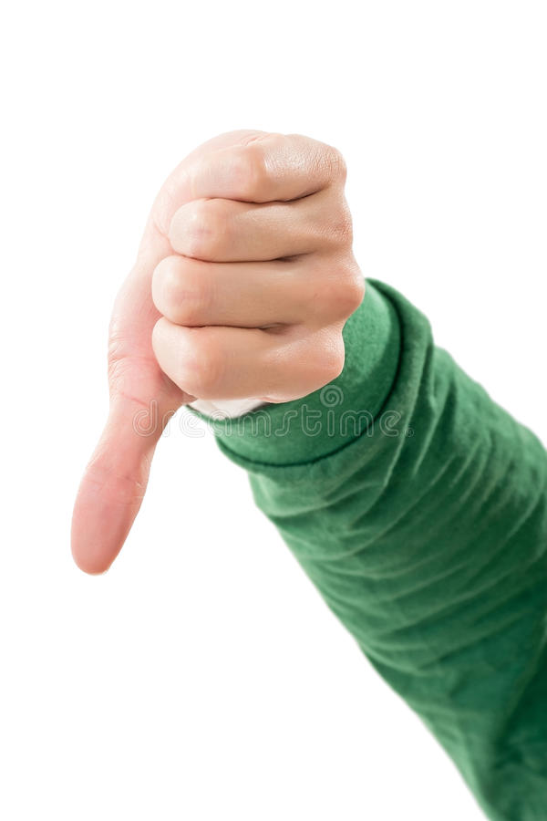 Большой пец руки вниз Gesture стоковое фото