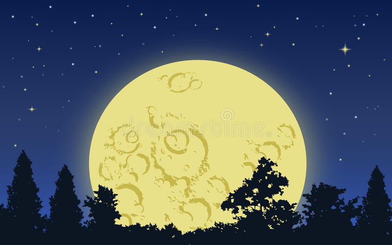 большой поднимать луны иллюстрация вектора
