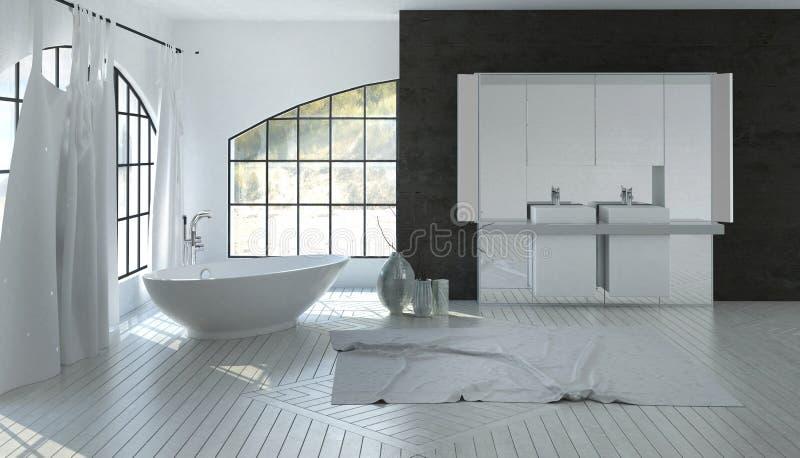 Большой просторный белый интерьер ванной комнаты иллюстрация штока