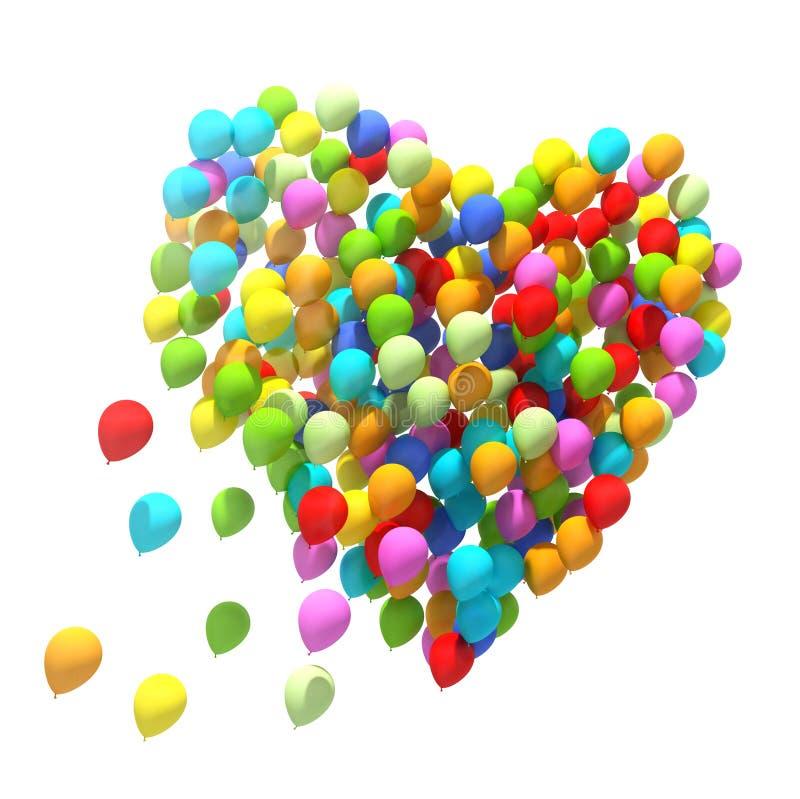 Большой пук воздушных шаров изолированная сердцем белизна томата формы иллюстрация штока