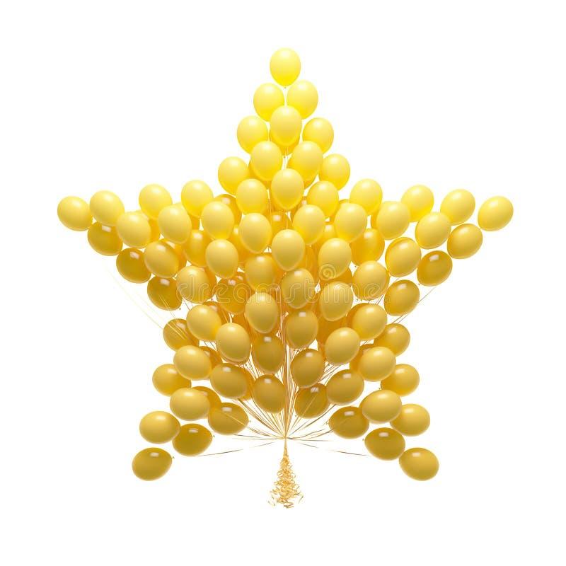 Большой пук воздушных шаров партии. Сформированная звезда. Изолированный на задней части белизны иллюстрация штока