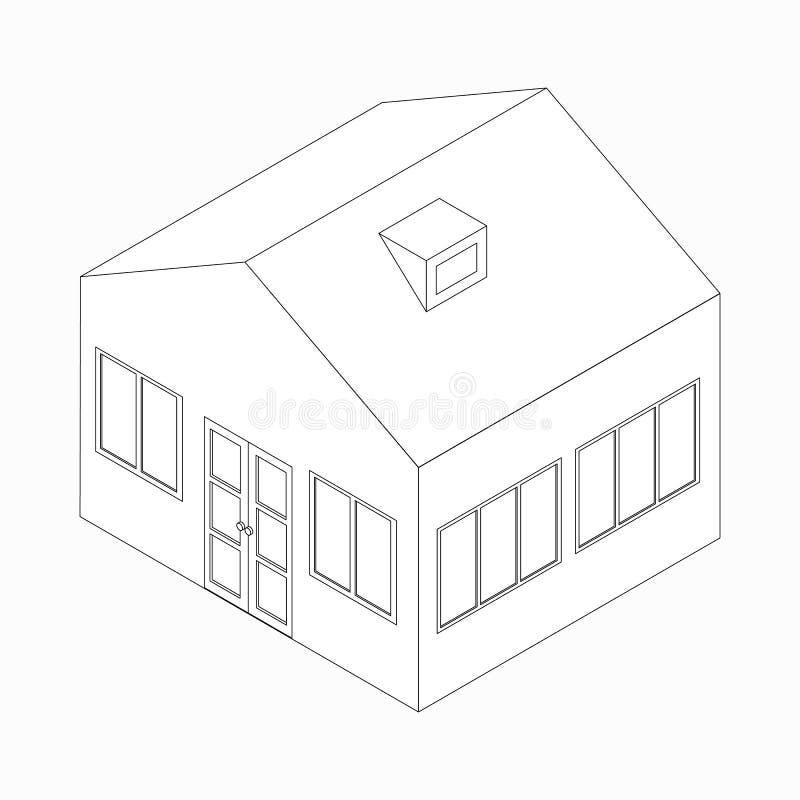 Большой разделенный значок дома, равновеликий стиль 3d иллюстрация вектора