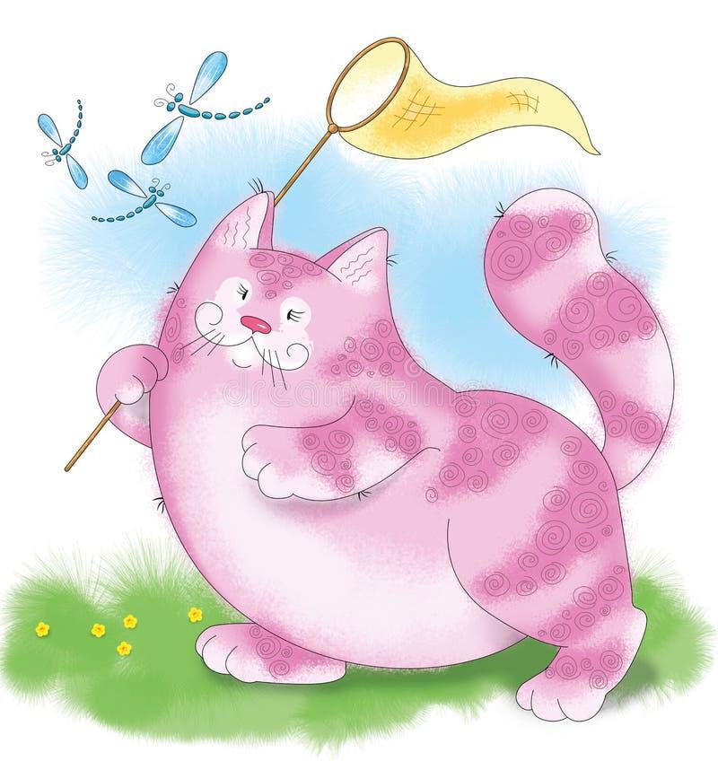 Большой розовый кот улавливает dragonfly стоковое фото rf
