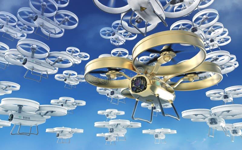 Большой рой белизны и одного золотых в передних трутнях вертолета квада летая в небо представьте иллюстрация вектора