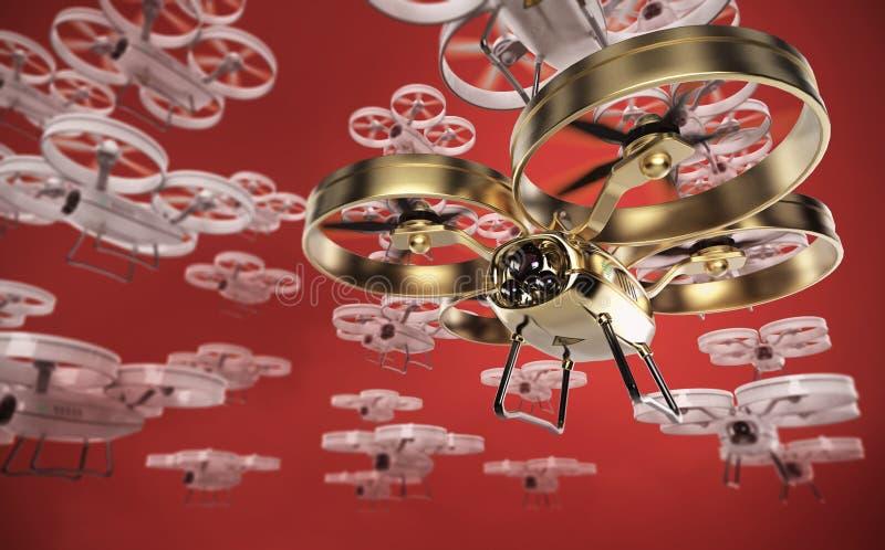 Большой рой белизны и одного золотых в передних трутнях вертолета квада летая в небо представьте бесплатная иллюстрация