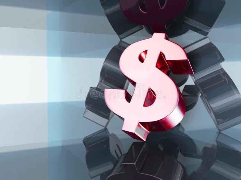 Большой символ валюты доллара на стеклянной предпосылке Финансовое concep иллюстрация вектора