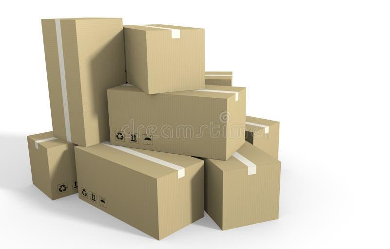 Большой стог картонных коробок готовых для грузить бесплатная иллюстрация