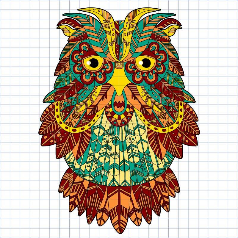 Большой сыч орла птиц Нарисованное рукой zentangle doodle иллюстрация вектора