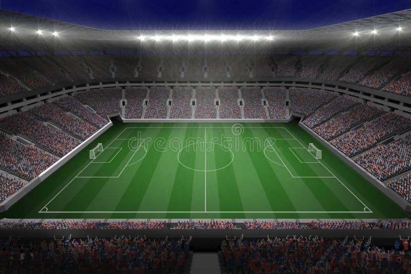 Большой футбольный стадион с светами иллюстрация штока