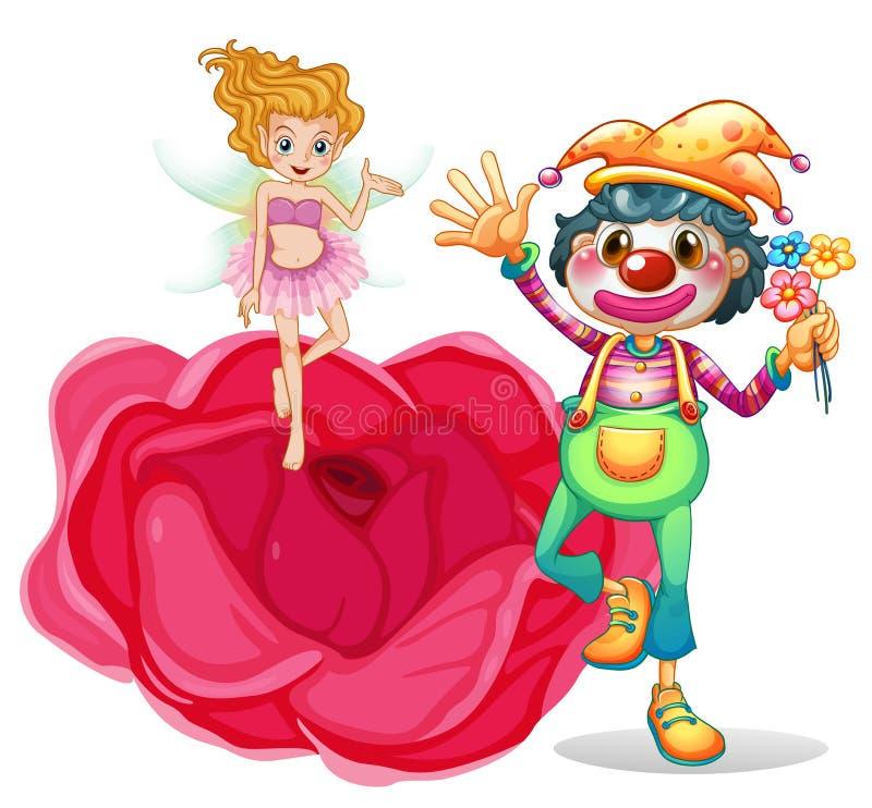 Большой цветок с феей и клоуном бесплатная иллюстрация