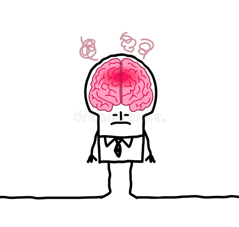 Большой человек & лихорадка мозга иллюстрация штока