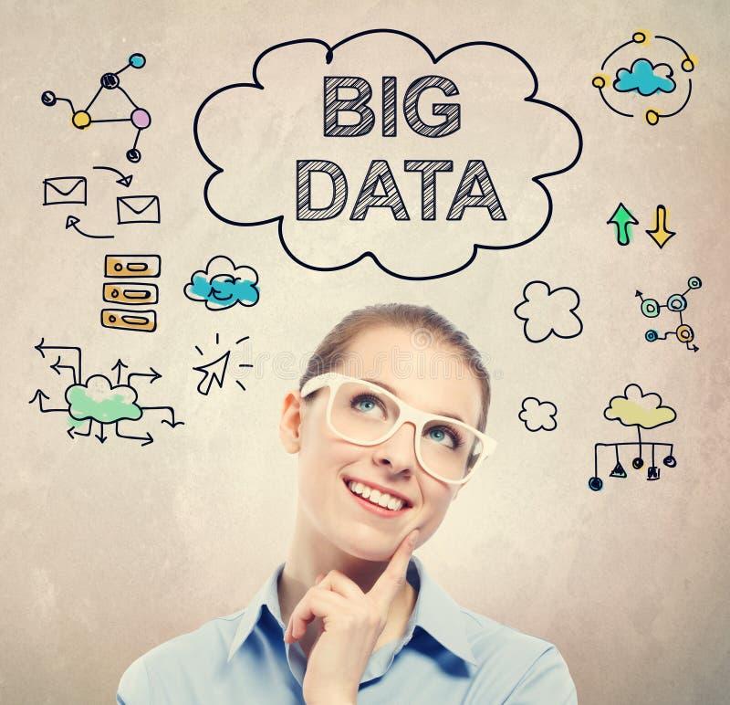 Большой эскиз идеи данных с молодой бизнес-леди стоковые фотографии rf