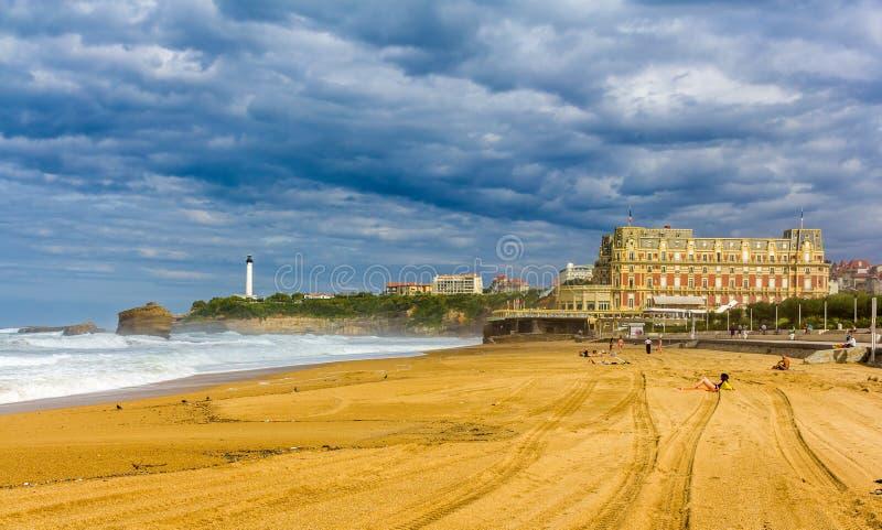 Большой Plage, пляж в Биаррице стоковые фото