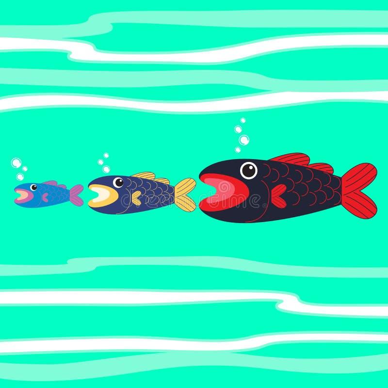 больш ест рыб немного иллюстрация вектора