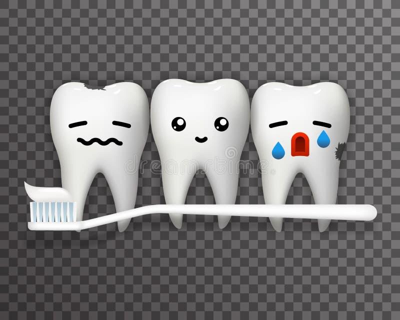 Боль выкрика улыбки счастливая страдает предпосылку 3d шаблона зубной щетки и зубной пасты зуба эмоции милую реалистическую прозр бесплатная иллюстрация