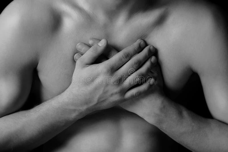 Боль в груди стоковое изображение