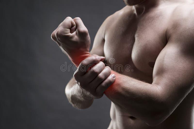 Боль в руке мужчина тела мышечный Красивый культурист представляя на серой предпосылке стоковое фото rf
