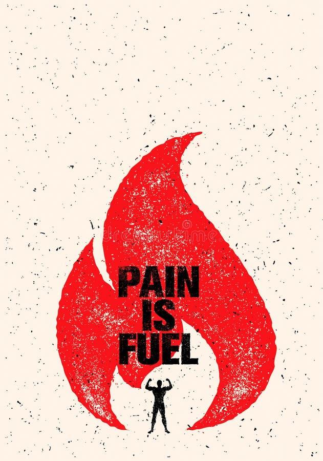 Боль цитата мотивировки спорта и фитнеса топлива Творческая концепция плаката Grunge оформления вектора с пламенем иллюстрация штока