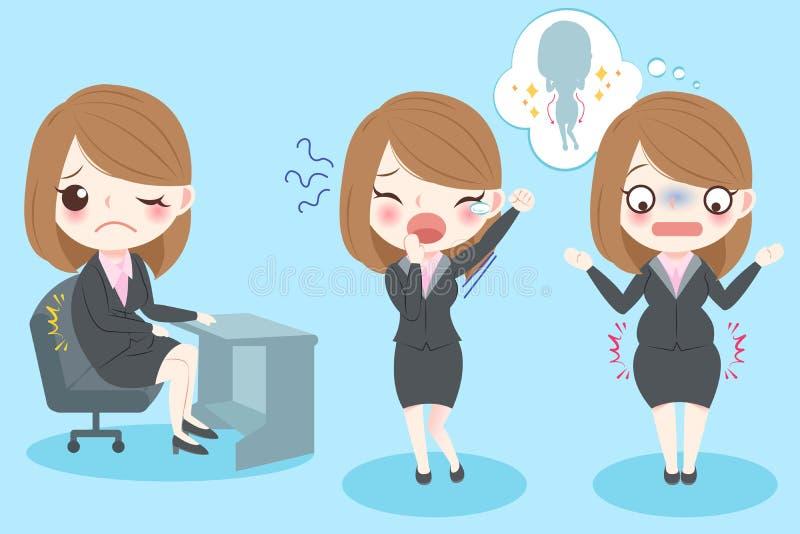 Боль чувства бизнес-леди иллюстрация вектора