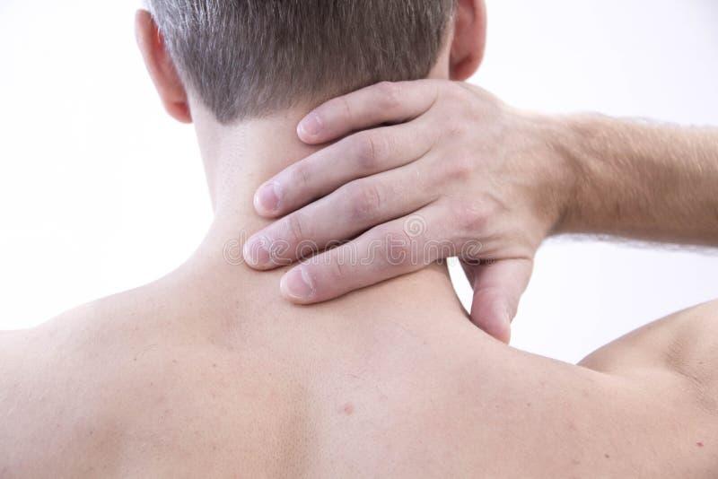 боль шеи Человек с backache мужчина тела мышечный Изолированный на белой предпосылке с красной точкой здравоохранение и стоковая фотография rf