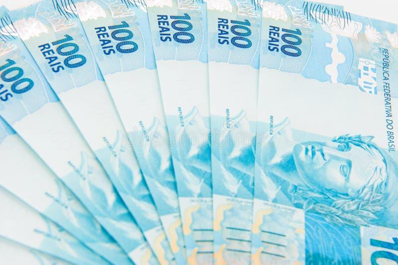 бразильские деньги новые стоковые изображения