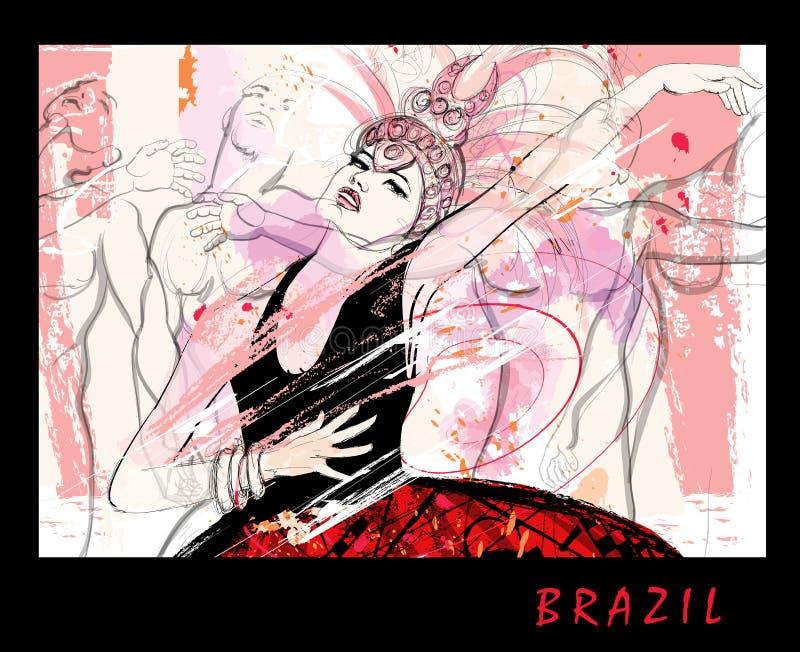 Бразильские танцоры над предпосылкой grunge бесплатная иллюстрация