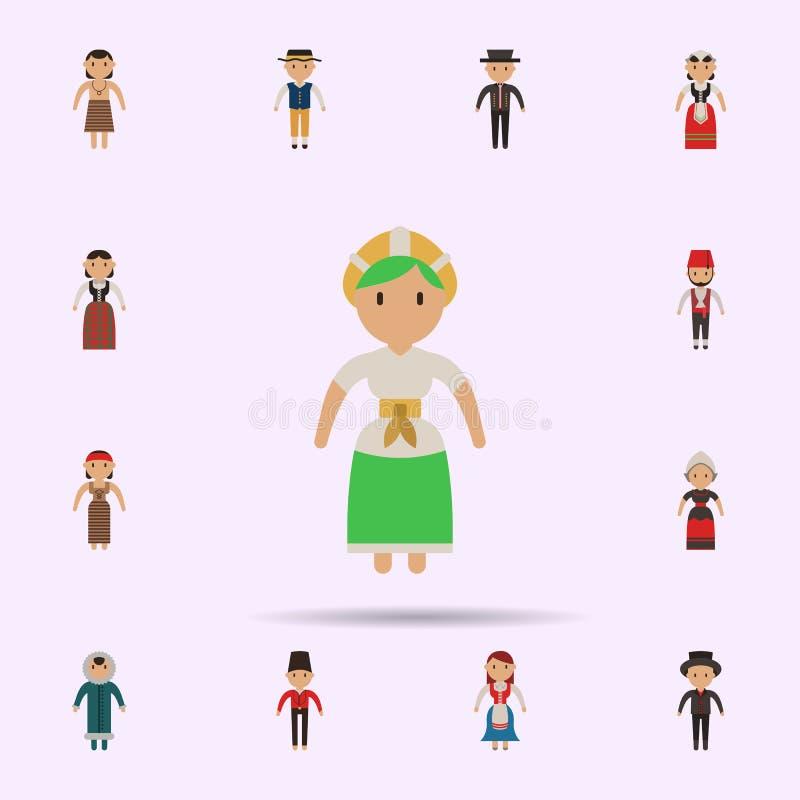 Бразильский, значок мультфильма женщины r иллюстрация штока