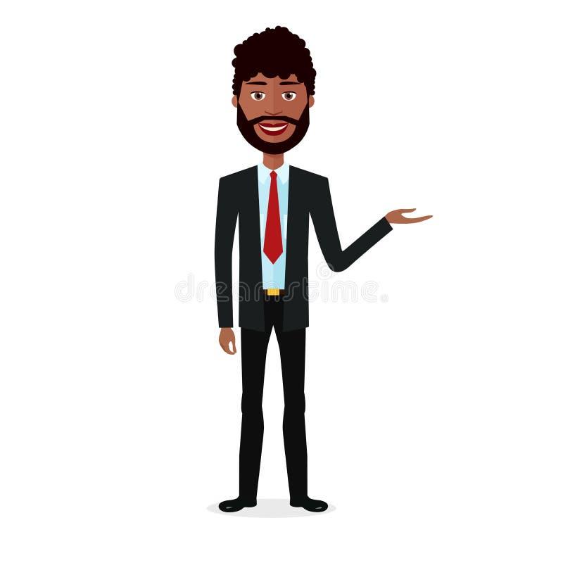 Бразильский молодой бизнесмен представляя что-то плоский шарж вектора изолированный на белом EPS 10 иллюстрация штока