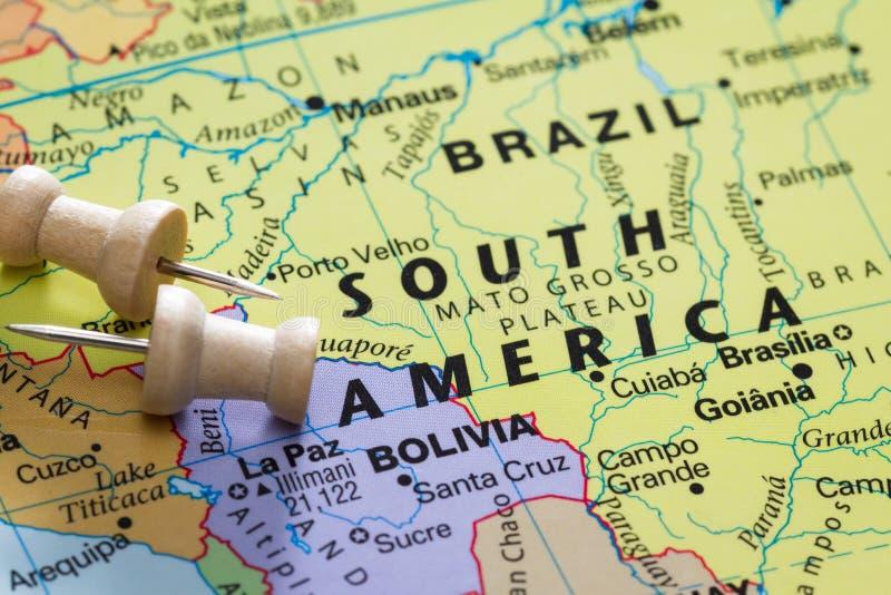 Бразилия на карте стоковое изображение