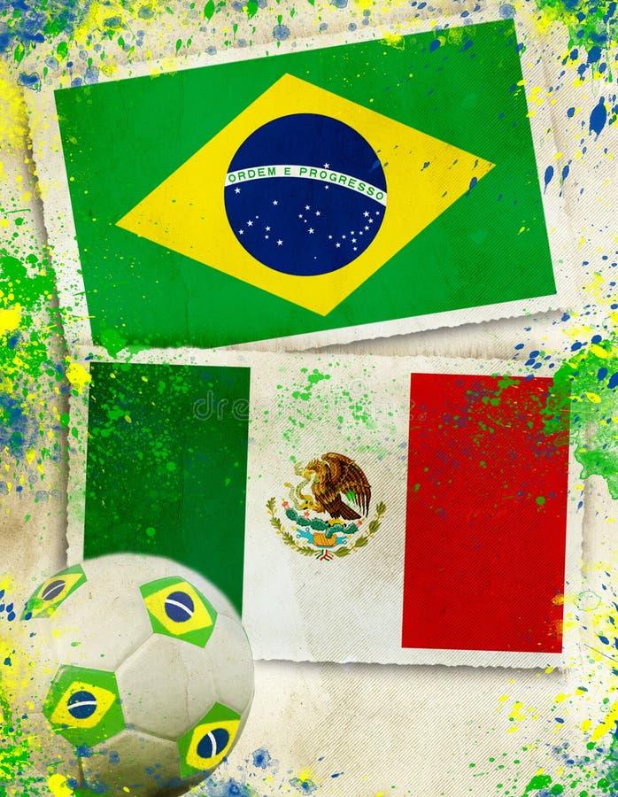 Бразилия против мексиканськой концепции футбольного мяча стоковая фотография