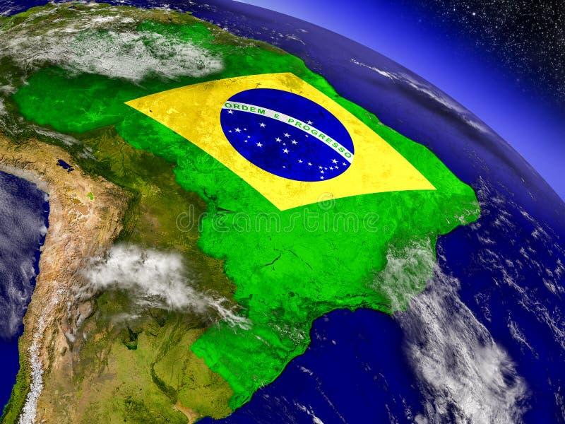 Download Бразилия с врезанным флагом на земле Иллюстрация штока - иллюстрации насчитывающей космос, спутник: 81806153