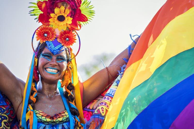 Бразильская женщина в Рио Carnaval, Рио-де-Жанейро, Бразилии стоковые изображения