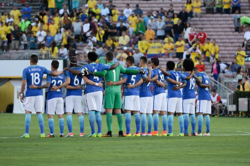Бразильская минута em национальной команды безмолвия в честь Muhamm стоковое изображение rf