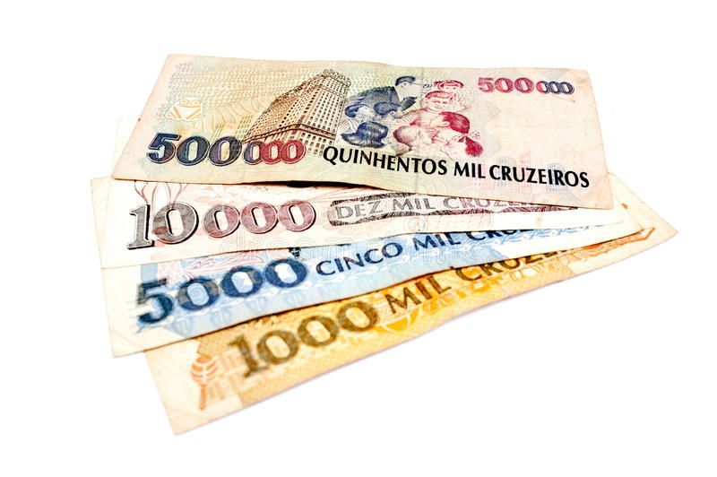 Бразильские старые деньги стоковые изображения rf