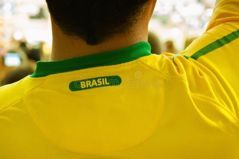Бразильский поклонник футбола в стадионе стоковое изображение