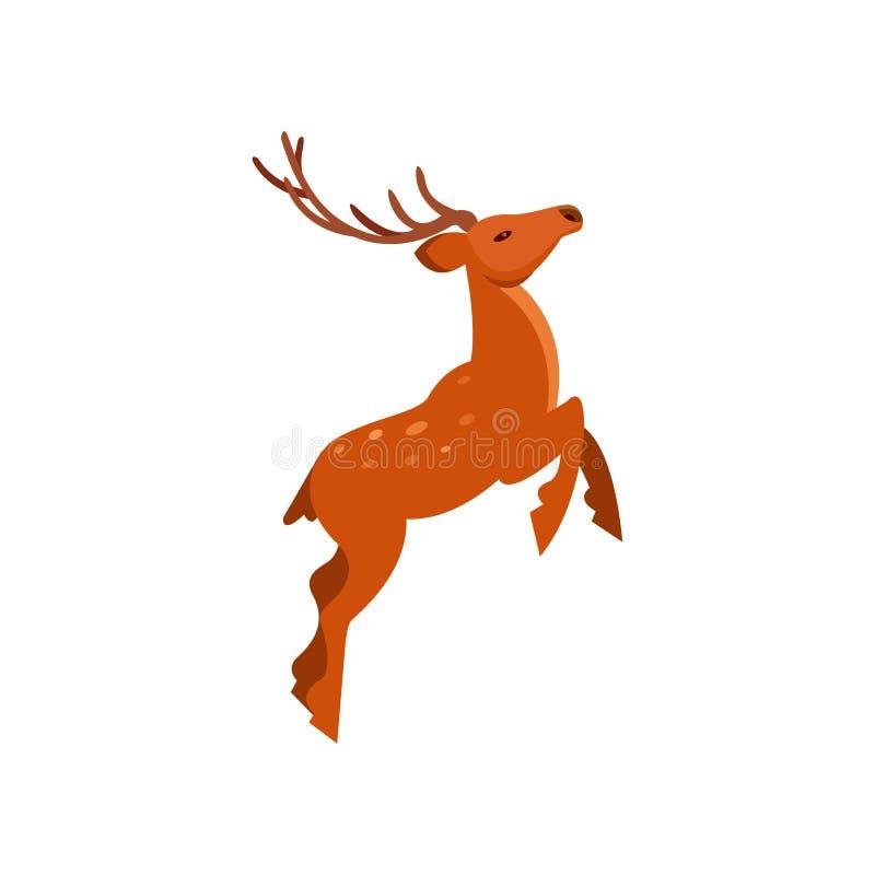 Брайн запятнал оленей при antlers скача, иллюстрации вектора шаржа дикого животного иллюстрация вектора