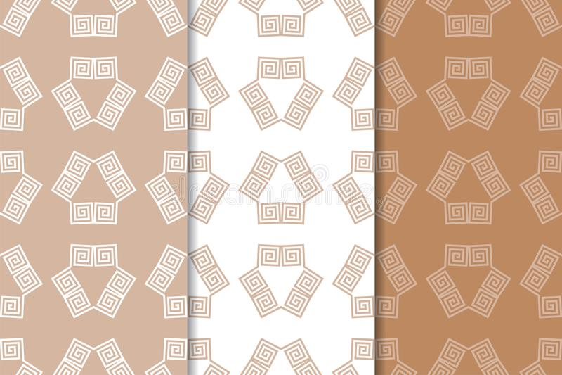 Брайн и белые геометрические орнаменты делает по образцу безшовный комплект иллюстрация вектора