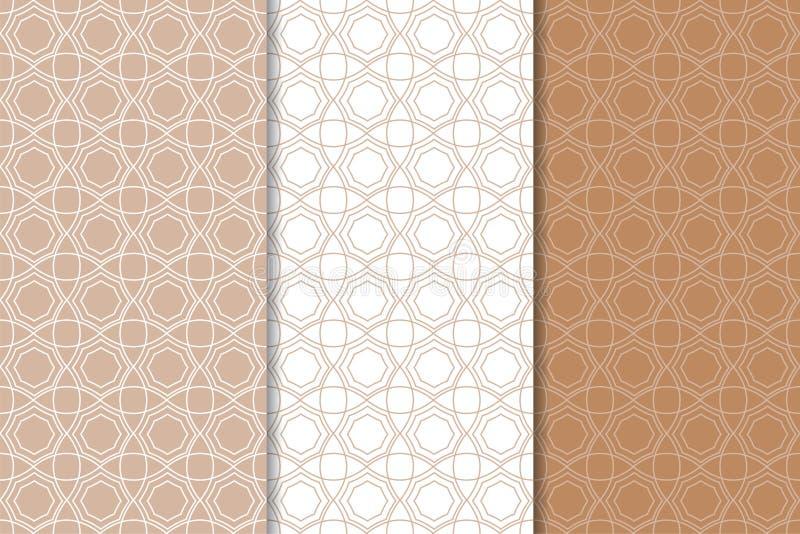 Брайн и белые геометрические орнаменты делает по образцу безшовный комплект иллюстрация штока