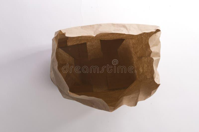 Брайн скомкал взгляд сверху бумажной сумки стоковая фотография rf