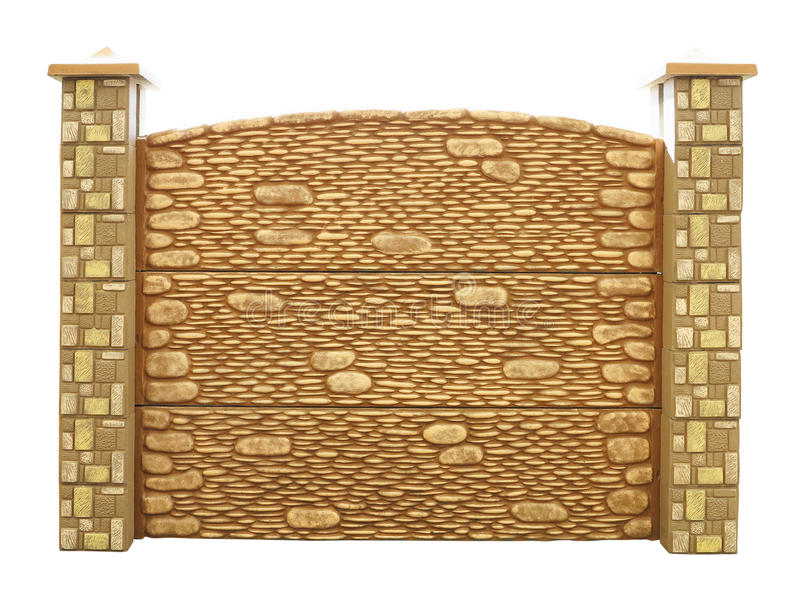 Брайн текстурировал украшенную изолированную конкретную загородку изолированную над w стоковые изображения rf