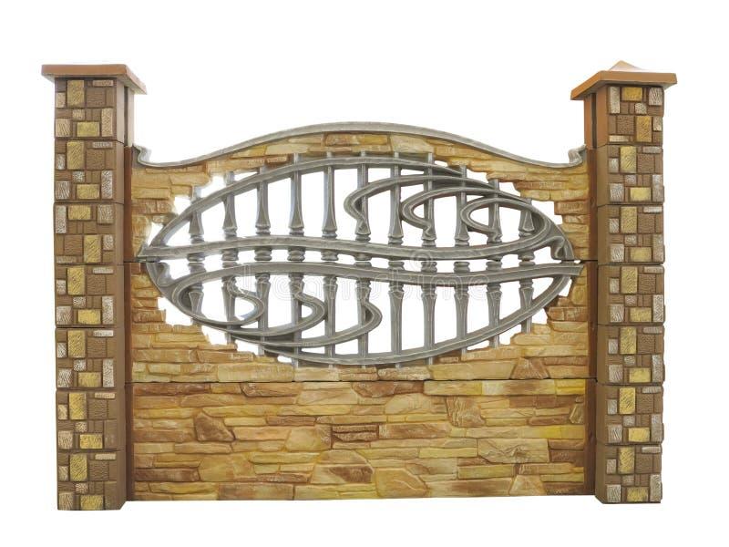 Брайн текстурировал украшенную изолированную конкретную загородку изолированную над w стоковая фотография