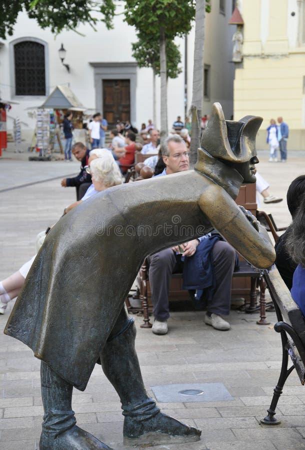 Братислава, 29-ое августа: Статуя солдата Наполеона от главной площади Братиславы в Словакии стоковые фотографии rf