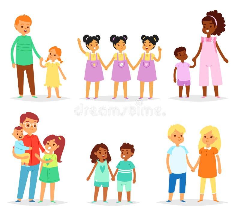 Братьев вектора детей характеров сестры брата девушки совместно sisterly и братские близнецы мальчиков в семье бесплатная иллюстрация