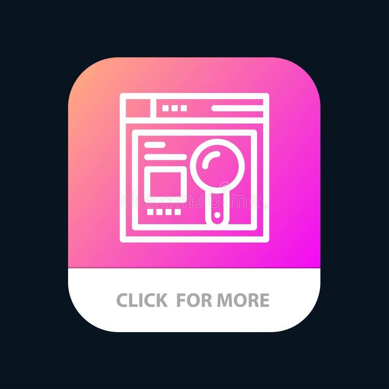 Браузер, сеть, поиск, кнопка приложения образования мобильная Андроид и линия версия IOS иллюстрация штока