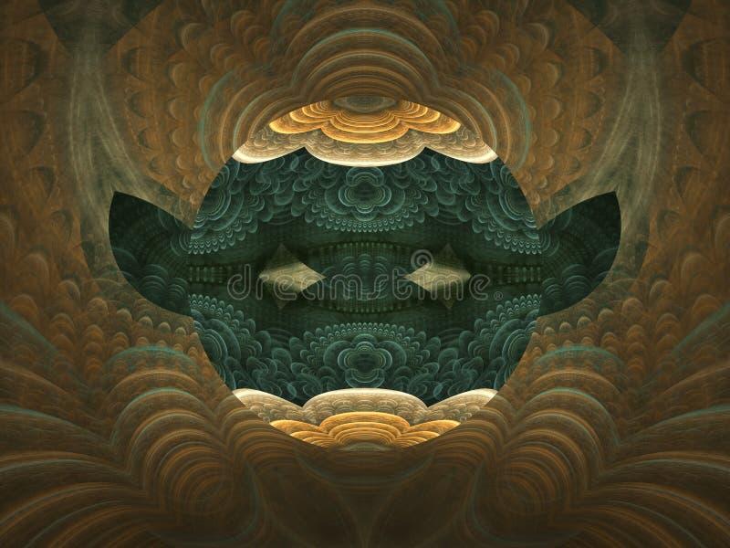 Браун и черная абстрактная фракталь пламени с глазами и ушами иллюстрация вектора