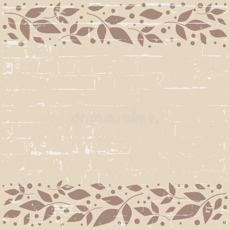 Браун текстурировал квадратную предпосылку с декоративными нашивками выравнивает верхнее и внизу с коричневыми листьями и точками иллюстрация штока