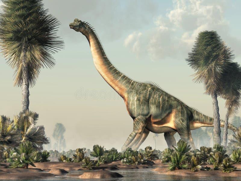 Брахиозавр в заболоченном месте бесплатная иллюстрация