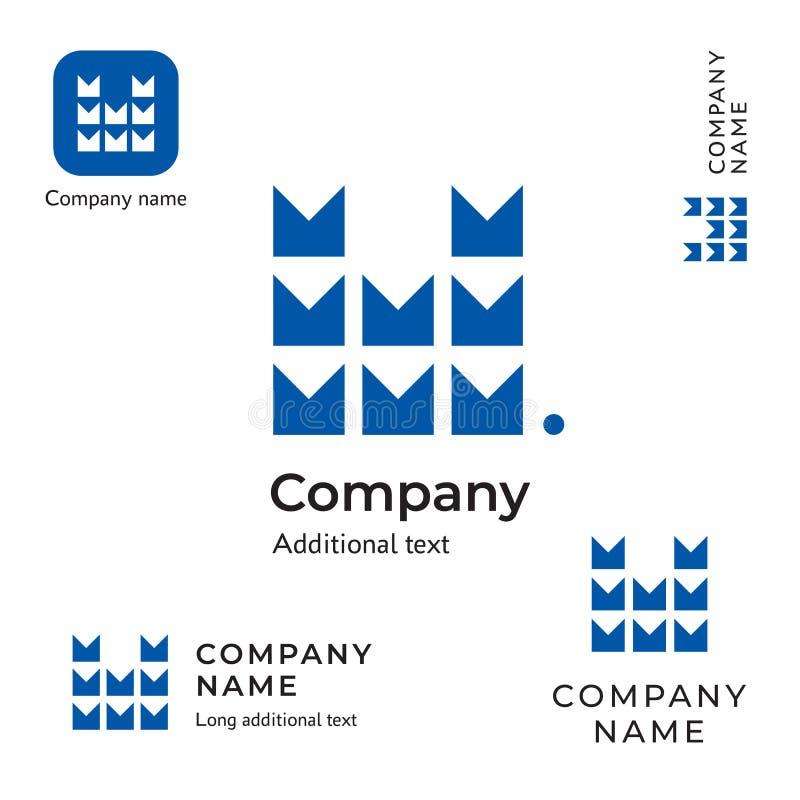 Бренд идентичности дела письма технологического логотипа современный m Contstruction и шаблон концепции символа значка App устано стоковые изображения